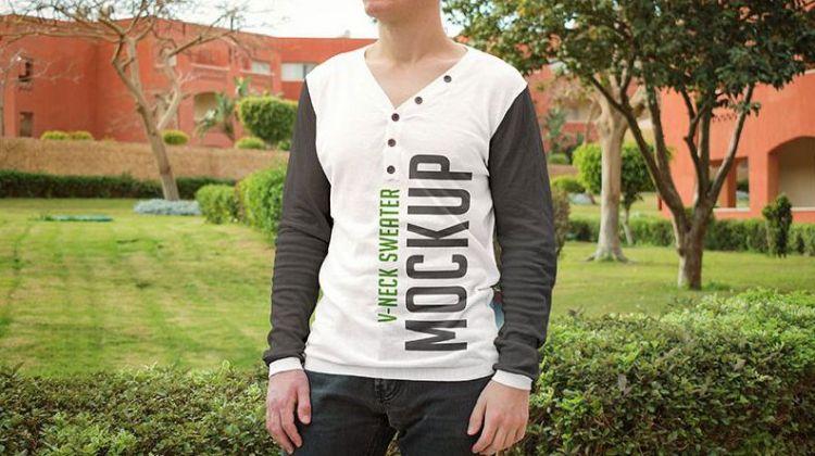 V-neck Sweater - Free PSD Mockup