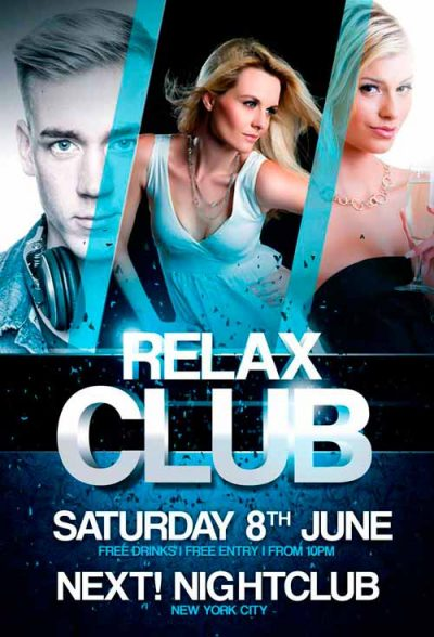 relax club flyer download free psd flyer