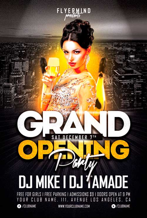grand opening party free psd flyer stockpsd