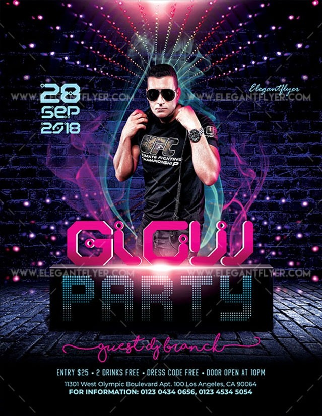 Glow Party Free PSD Flyer