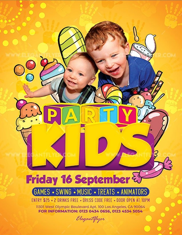 Kids Party Free PSD Flyer