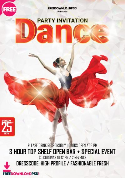Dance Party Free PSD Flyer Template