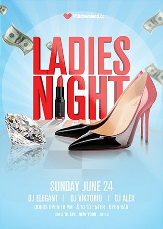 Ladies Night Flyer Free PSD Flyer