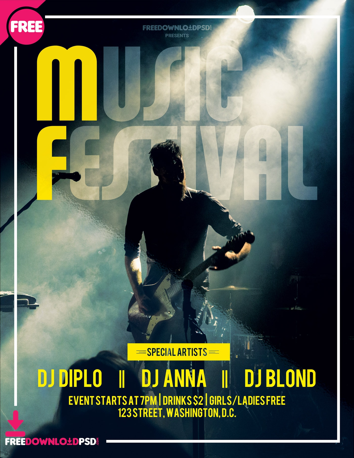 Music Festival #3 Free PSD Flyer Template