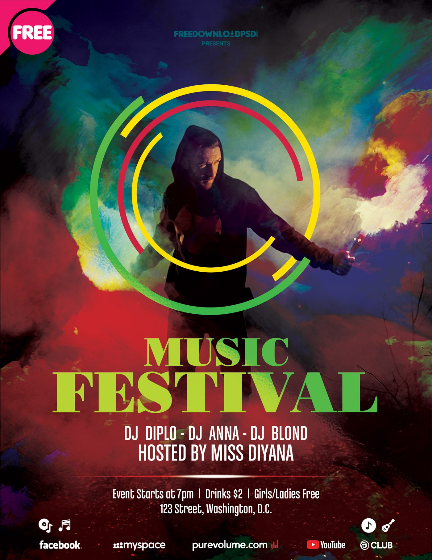 Music Festival #2 Free PSD Flyer Template