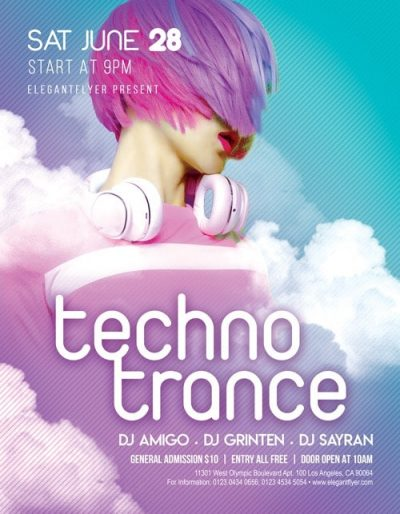 Techno Trance Free PSD Flyer