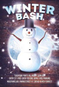 Winter Snowman Bash – Free PSD Flyer Template