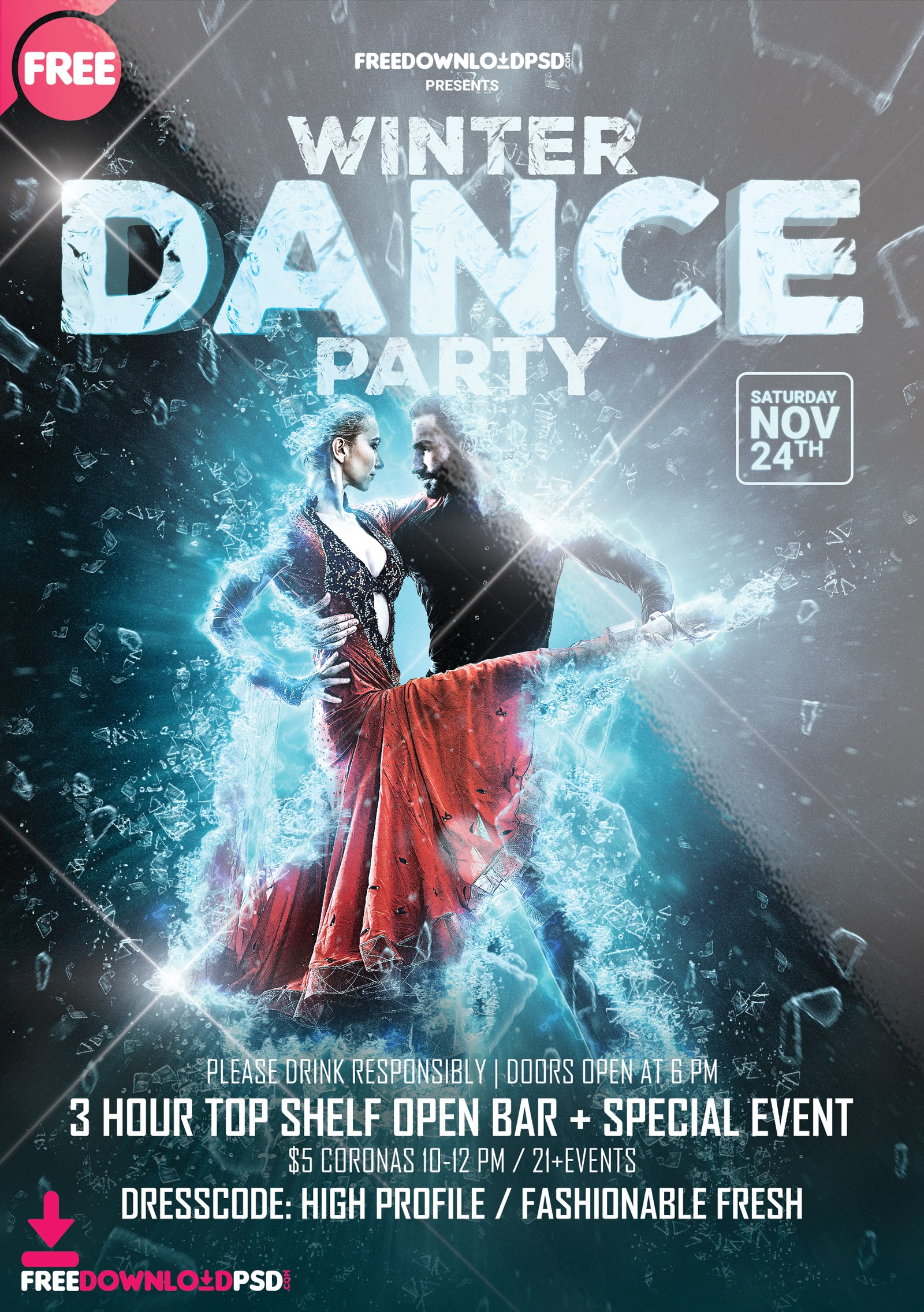 Winter Dance Free PSD Flyer Template