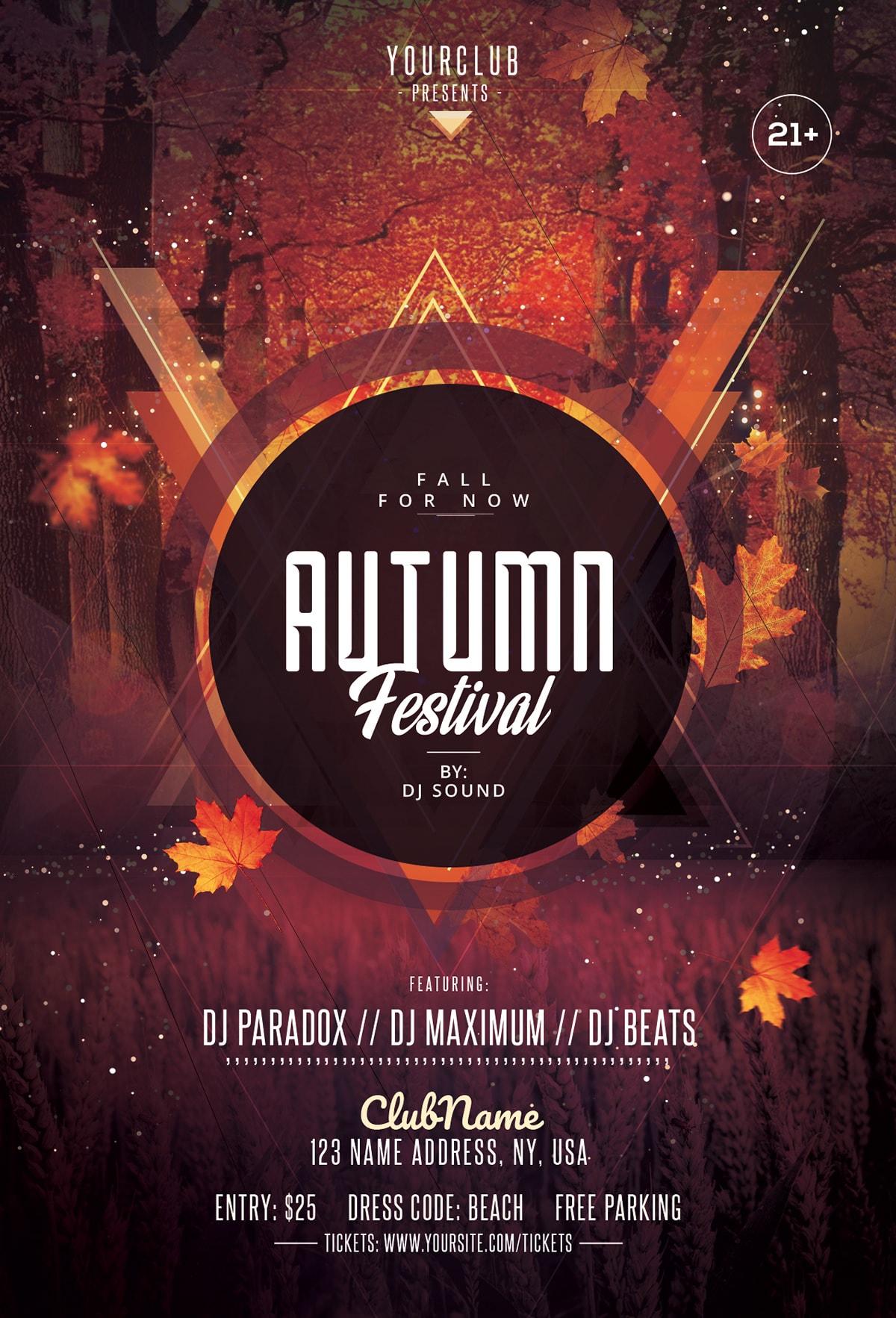 autumn fall festival - psd flyer template