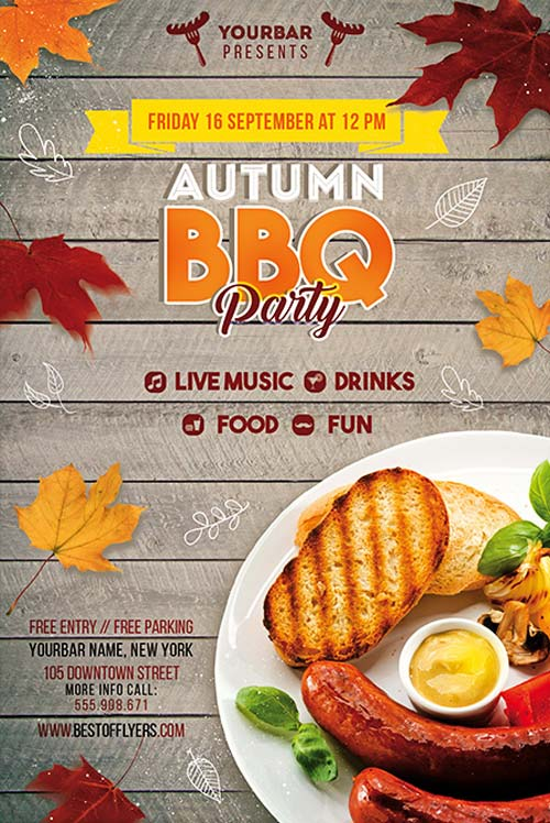 Autumn BBQ Party Free PSD Flyer