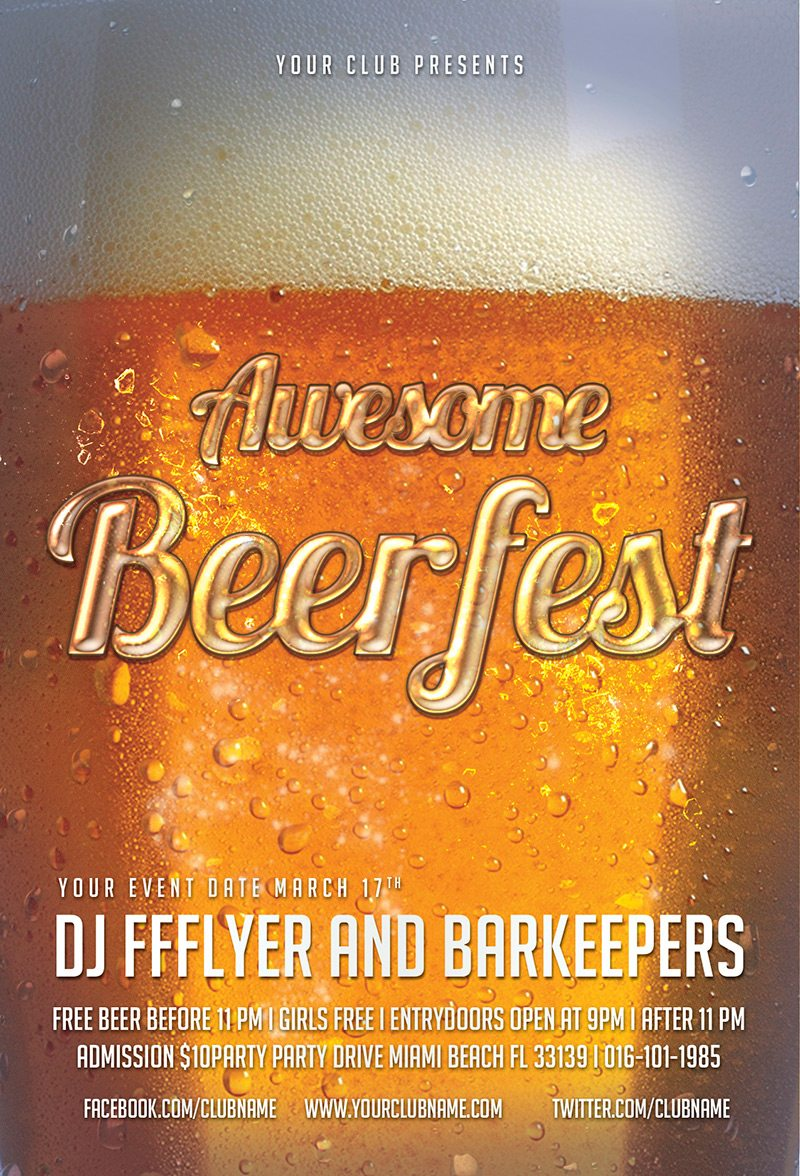 Awesome Beerfest Free PSD Flyer