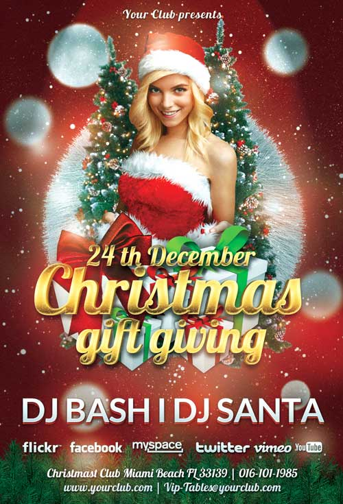 Christmas Gift Giving Free PSD Flyer Template