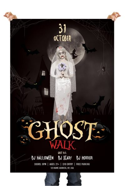 Ghost Walk Halloween Free PSD Flyer