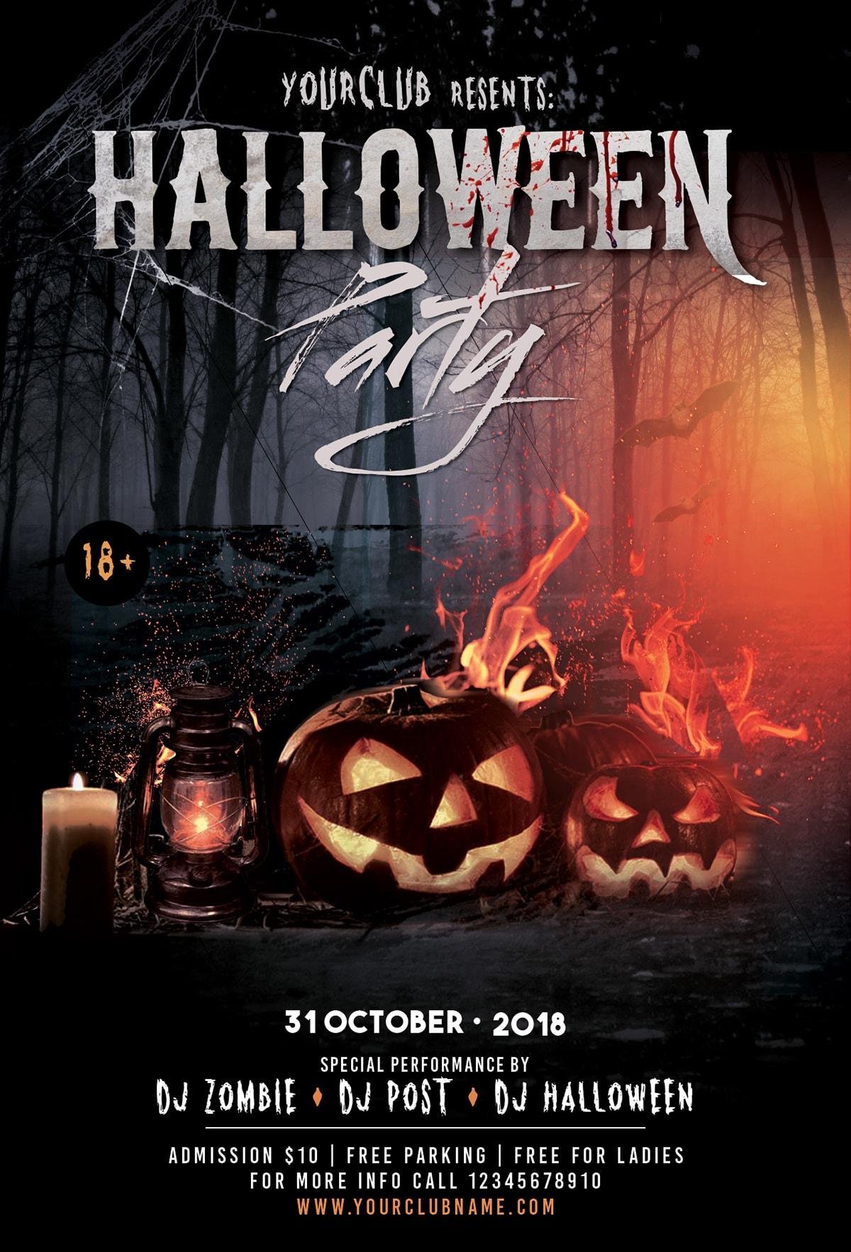 Free flyer psd halloween