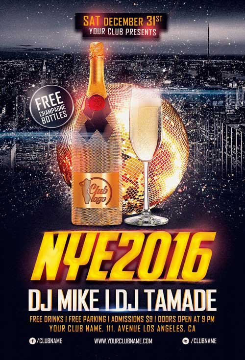 NYE Night 2019 Free PSD Flyer Template