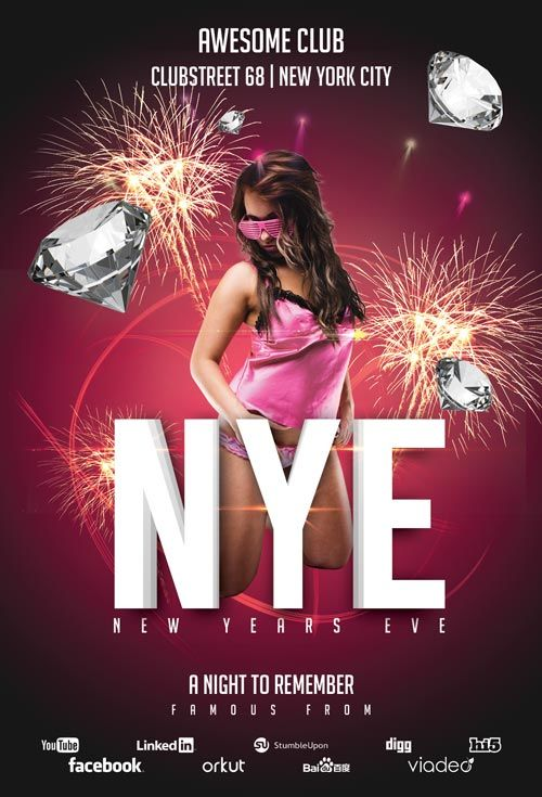 New Years Eve Club - Free PSD Flyer Template - Free PSD