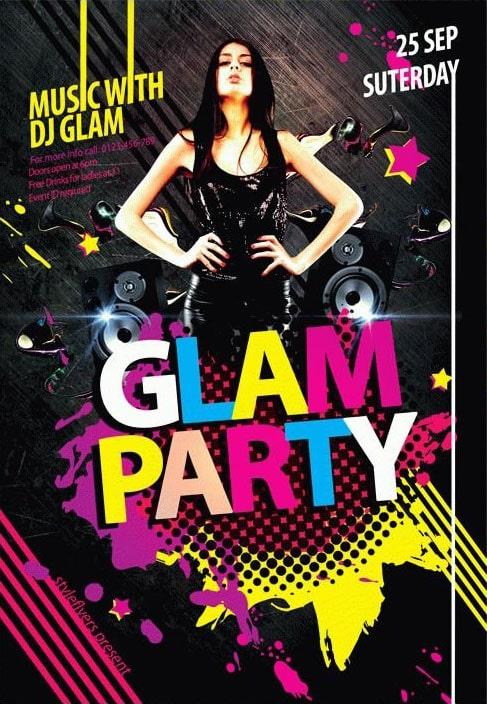 Glam Party – Free PSD Flyer Template