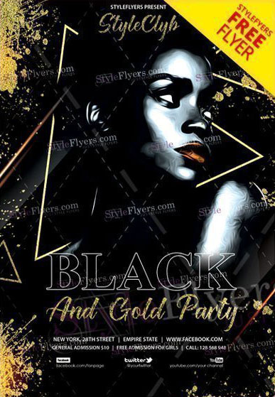 Black And Gold Party Free PSD Flyer Template