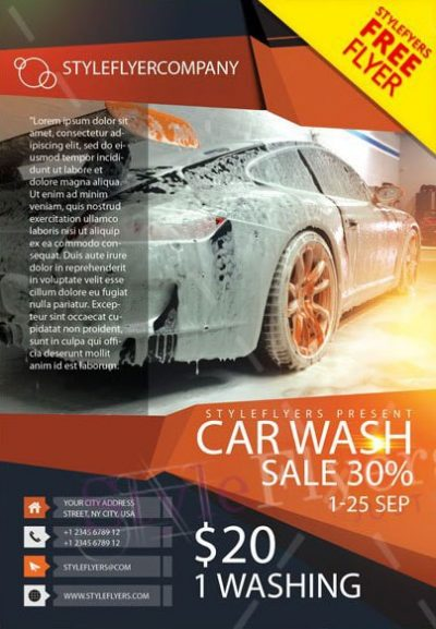 Car Wash #2 Free PSD Flyer Template