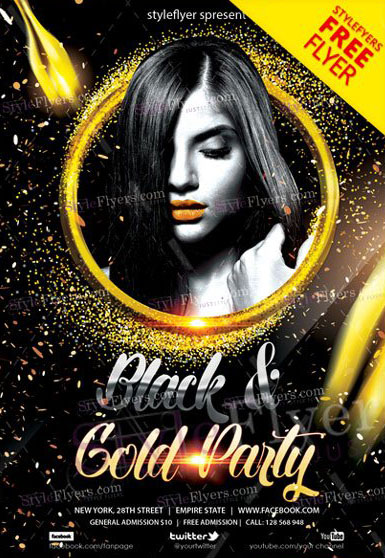 Black and Gold Night Free PSD Flyer Template