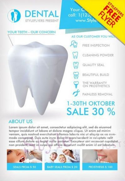 Dental Medicine Free PSD Flyer Template