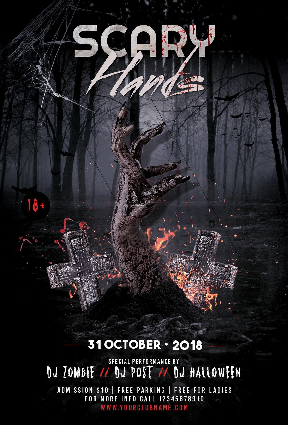 Scary Halloween Party - PSD Flyer-Invitation Template - Stockpsd.net