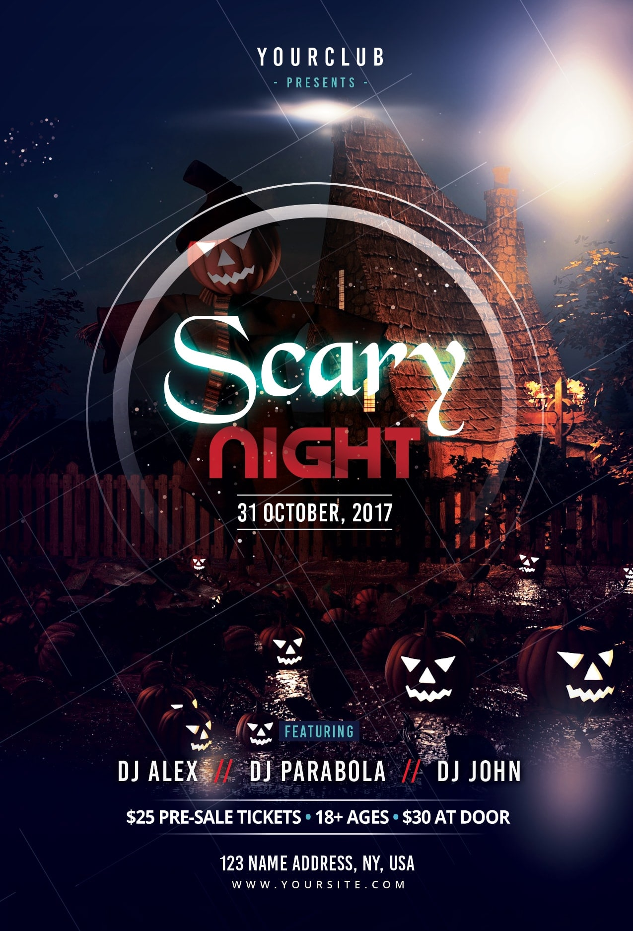 Scary Night Free PSD Flyer