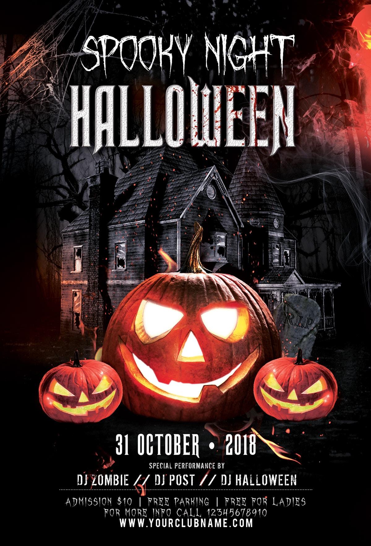 Spooky Night Halloween Psd Flyer Template Stockpsd