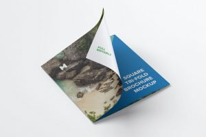 Tri-Fold Square Brochure #2 – Free Mockup