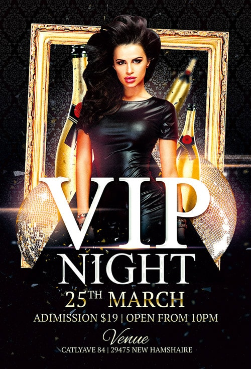 Vip Night Free PSD Flyer Template