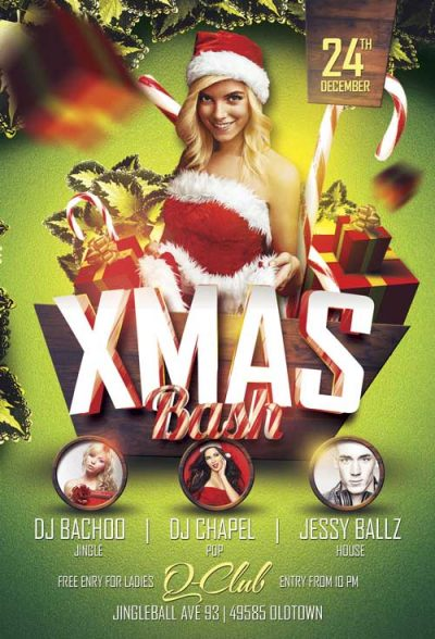 Xmas Bash Free PSD Flyer Template