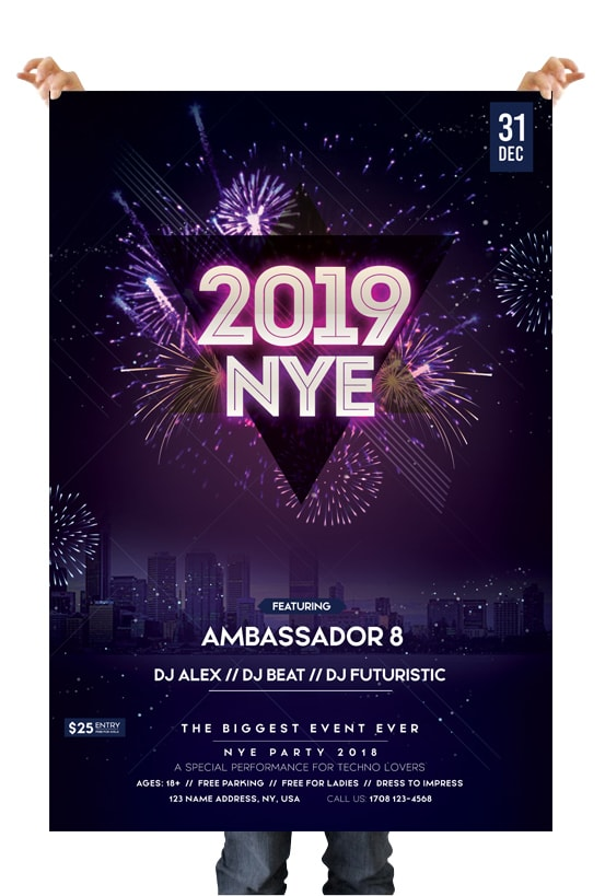 2019 New Year Eve Free PSD Flyer Template