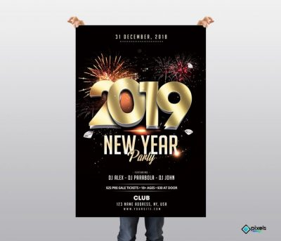2019 New Year Elegant Free PSD Flyer Template