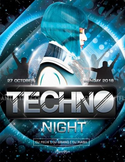 Techno Night Free PSD Flyer Template
