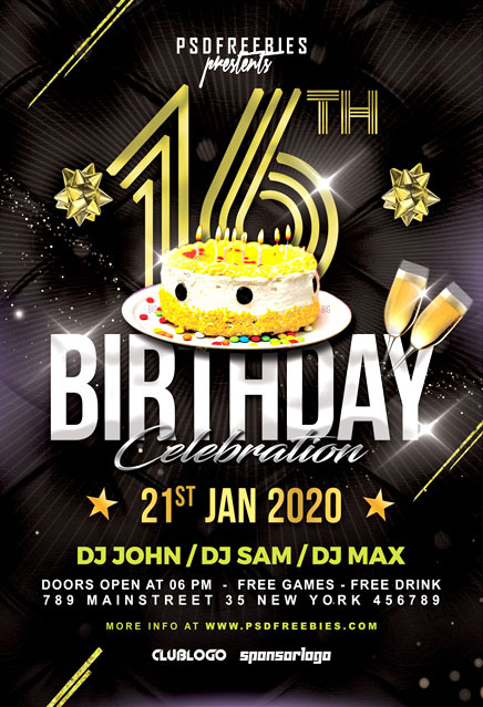 Birthday Night Party Free PSD Flyer Template