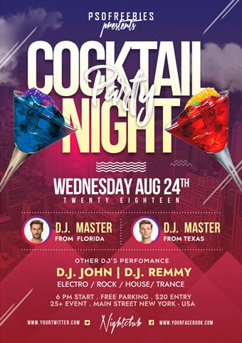 Cocktail Party Free PSD Flyer Template