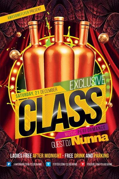 Exclusive Class Club Free PSD Flyer Template