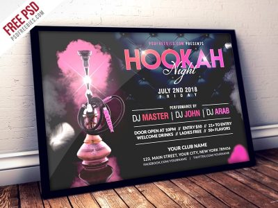 Hookah Night Party Free PSD Flyer Template