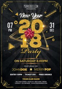 New Year 2018 Party – Free PSD Flyer Template