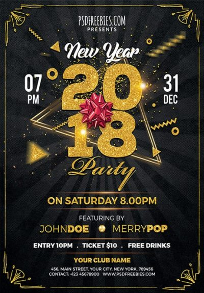 New Year 2019 Free PSD Flyer Template