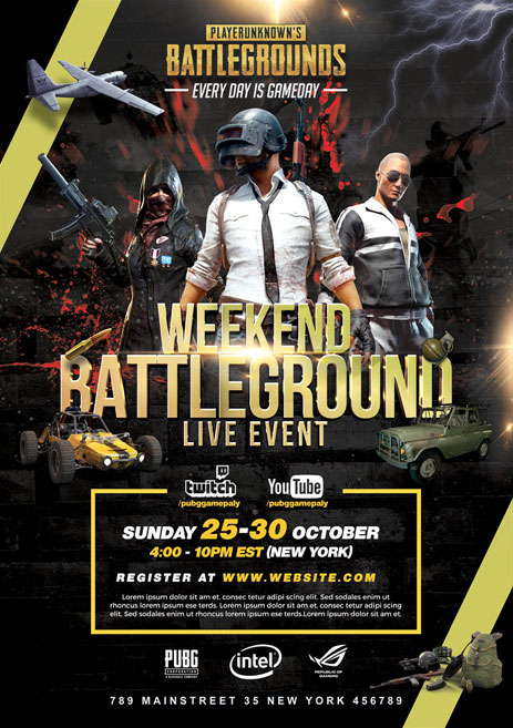 pubg tournament free psd flyer template stockpsd