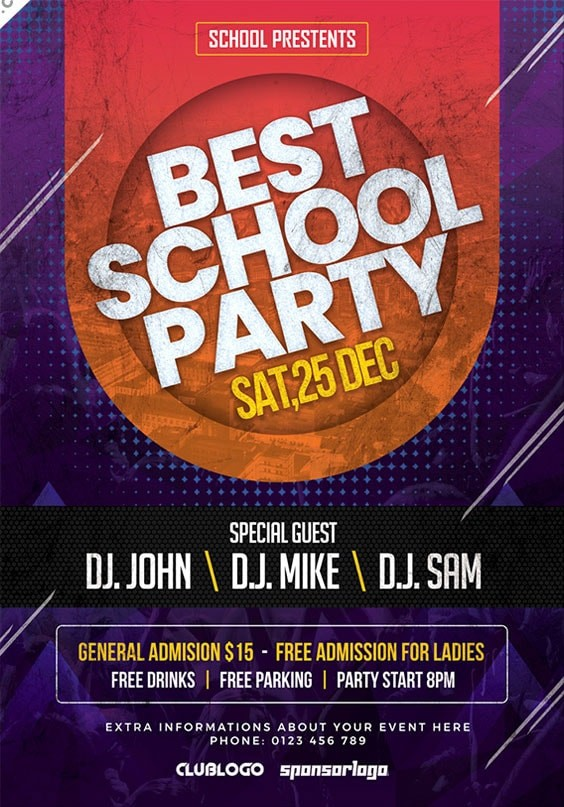 School Party Free PSD Flyer Template