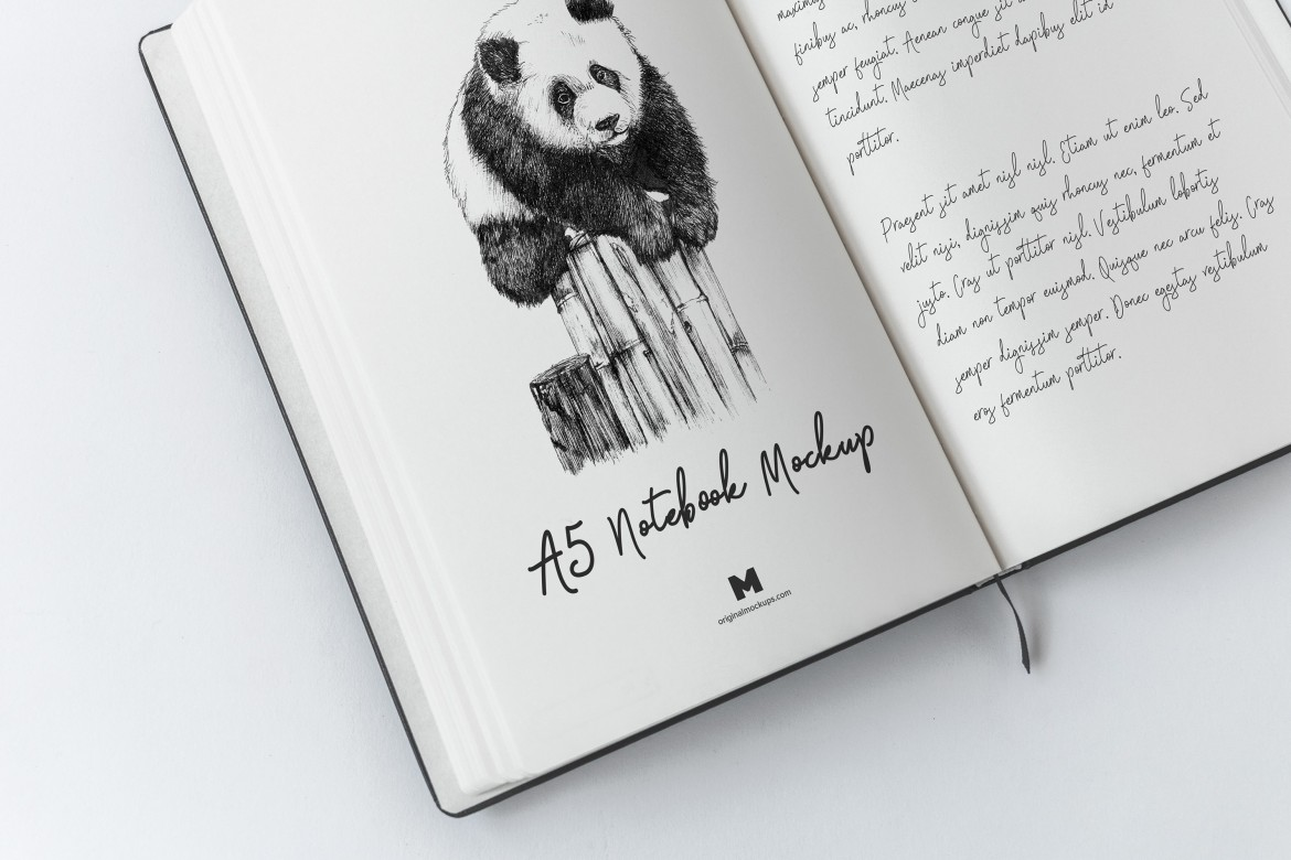 A5 Hardcover Notebook Free PSD Mockup