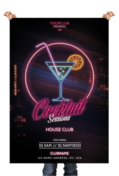 Cocktail Sessions Free PSD Flyer Template