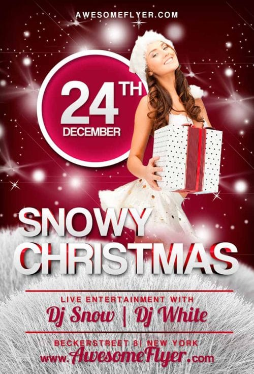 Snowy Christmas Free PSD Flyer Template