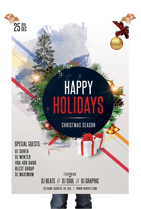 Happy Holidays Free Christmas PSD Flyer