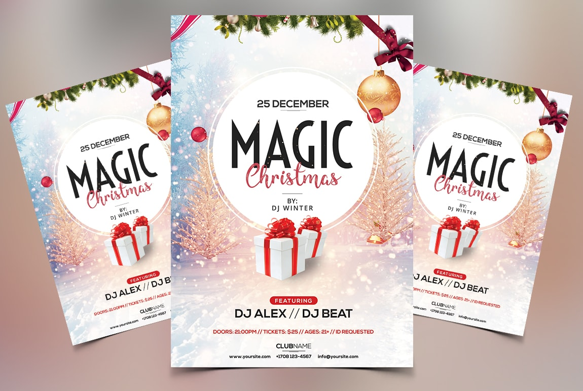 Magic Christmas Free PSD Flyer Template