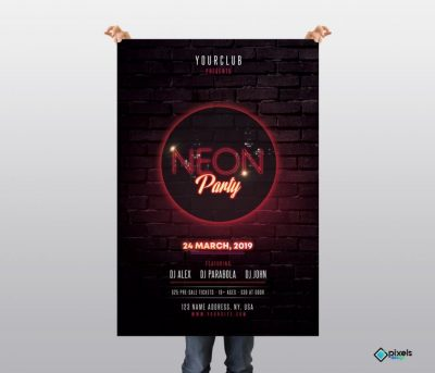 Neon Party Free PSD Flyer Template