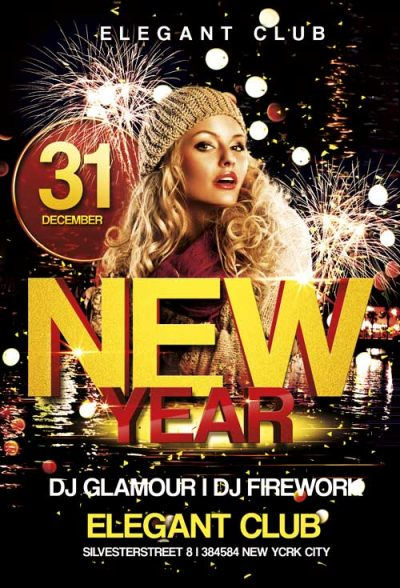 New Year Club Free PSD Flyer Template