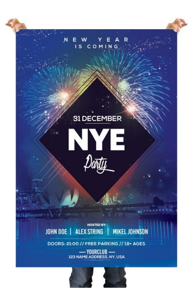 2019 NYE Party Free PSD Flyer Template